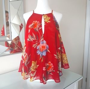 Lucky Brand Red Floaty Floral Top